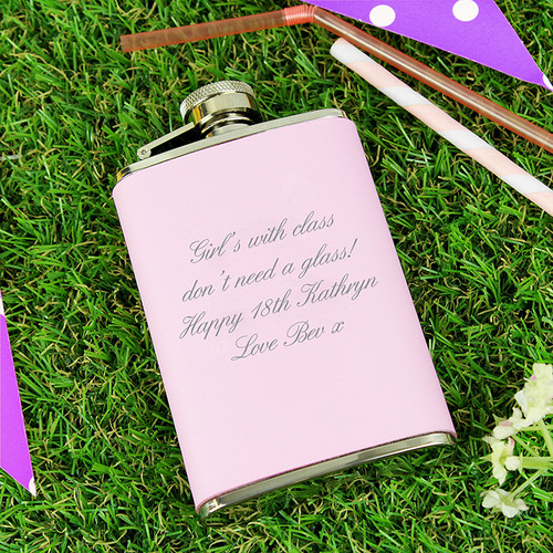 Personalised Pink Hip Flask From Something Personal