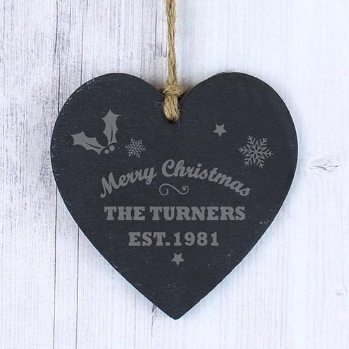 Personalised Merry Christmas Slate Heart