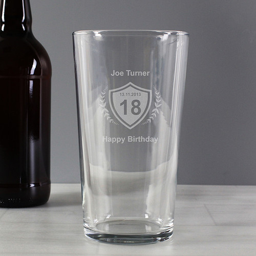 Personalised Age Crest Pint Glass From Something Personal