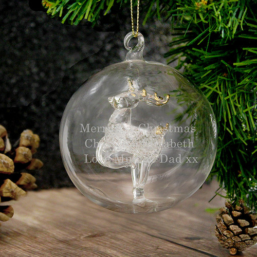 Personalised Glass Reindeer Bauble From Something Personal