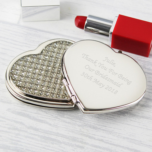 Personalised Diamante Heart Compact From Something Personal