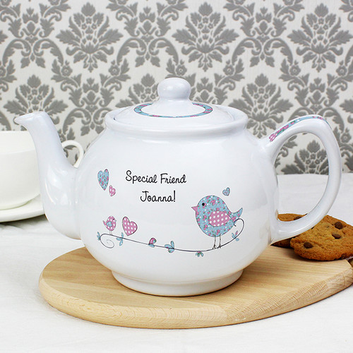 Personalised Floral Bird Teapot From Something Personal