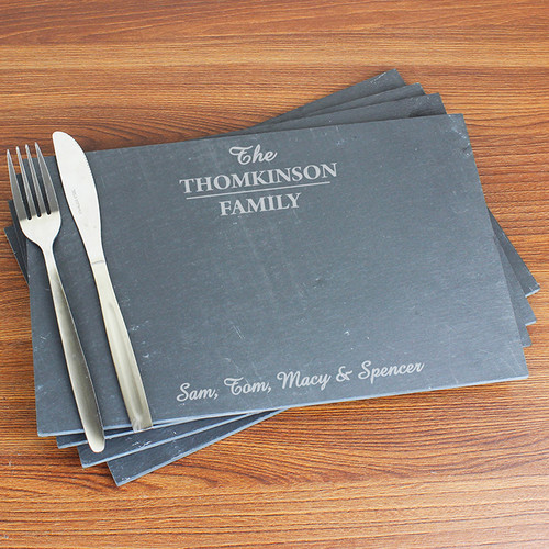 Personalised Family Slate Rectangle Placemat 4 Pack From Something Personal