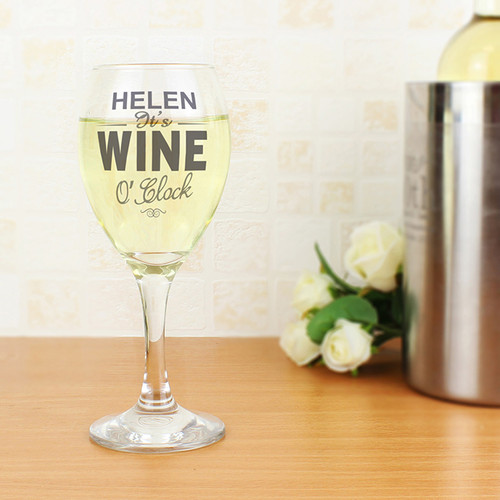 Personalised Wine O'Clock Wine Glass From Something Personal