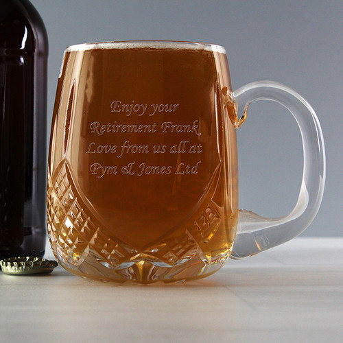 Personalised Pint Crystal Round Tankard From Something Personal