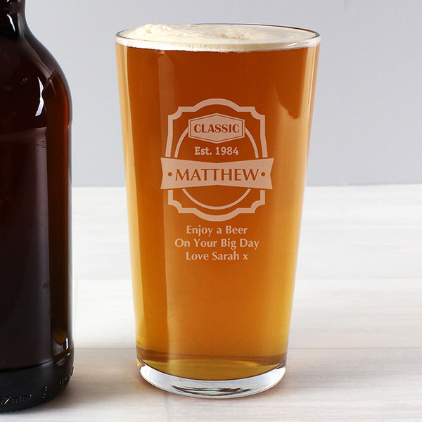 Personalised Classic Pint Glass From Something Personal