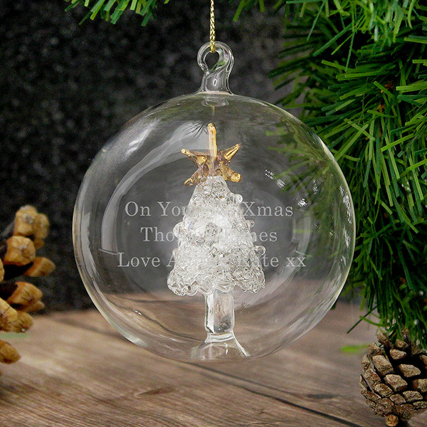 Personalised Glass Christmas Tree Bauble From Something Personal