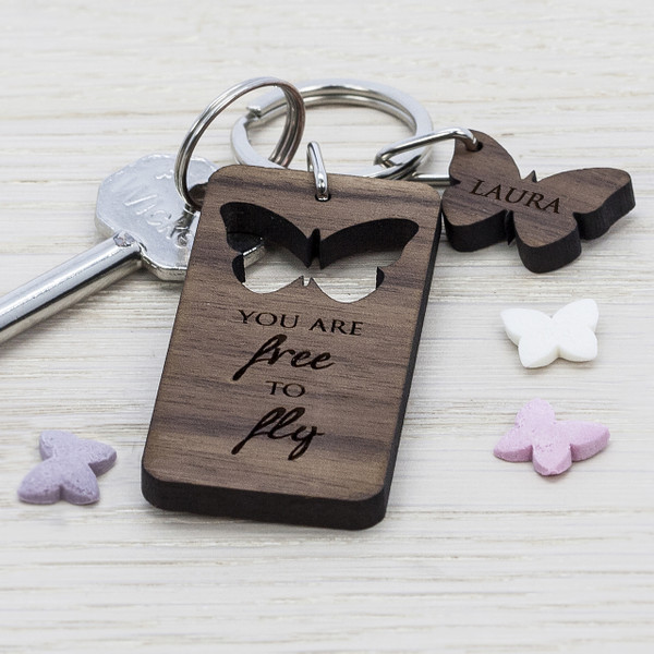 Personalised Butterfly Walnut Keyring From Something Personal