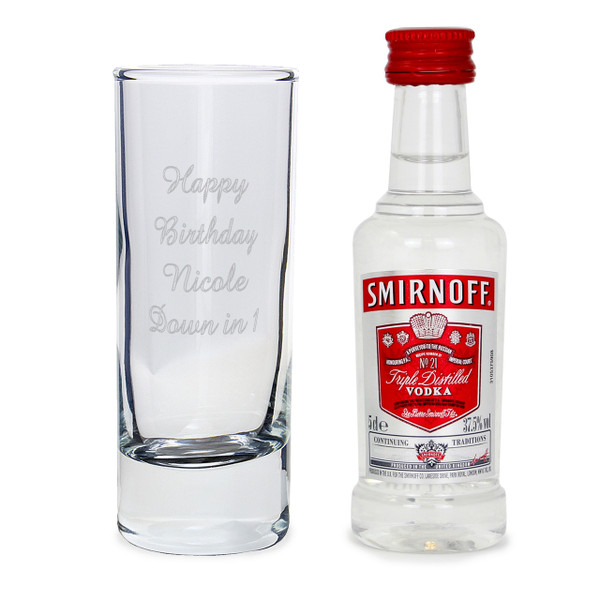 Personalised Shot Glass & Miniature Vodka Set From Something Personal