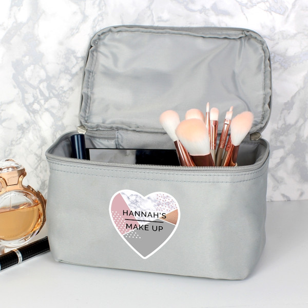 Personalised Geometric Grey Make Up Wash Bag From Something Personal