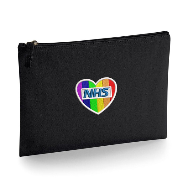 NHS Rainbow Heart Large Accessory Pouch From Something Personal