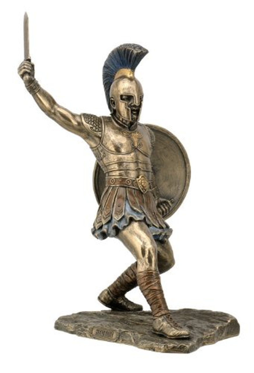 Hector Warrior Statue With Sword and Shield Bronzed