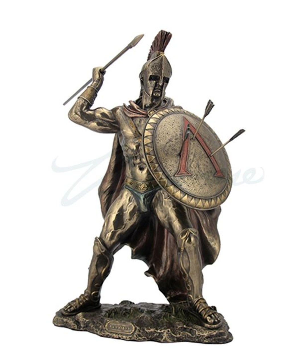 King Leonidas Spartan Warrior Statue With Spear Bronzed (Small)