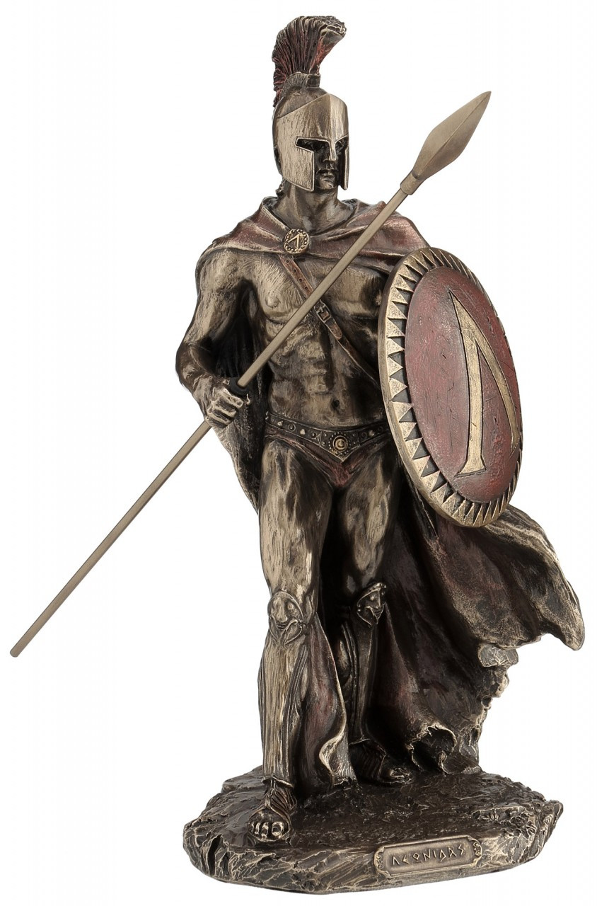 "King Leonidas Spartan Warrior Statue With Spear 11 1/8"" Tall"