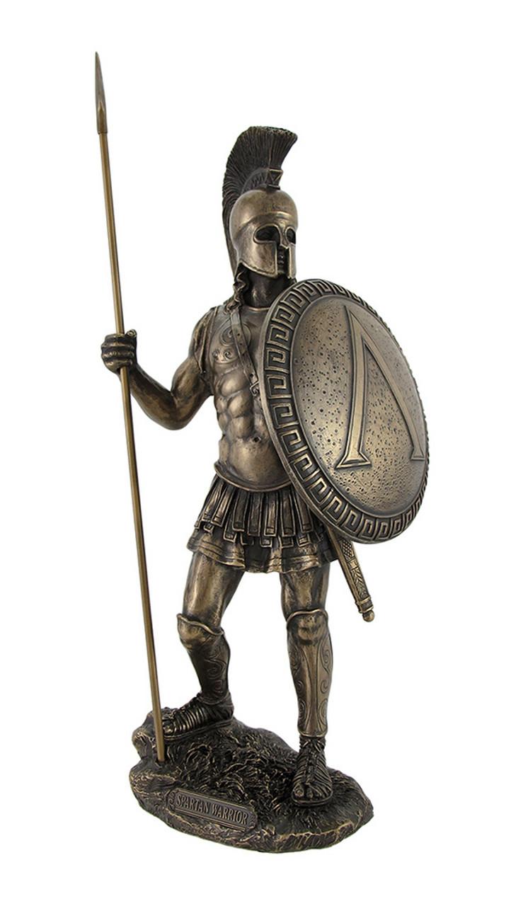 Spartan Warrior Statue With Spear Bronzed