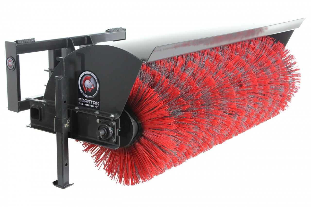 """84"""" Wide Hydraulic Angle Broom Attachment With Poly & Wire Brushes"""