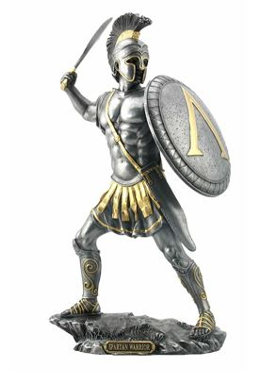 Spartan Warrior Statue With Sword Pewter