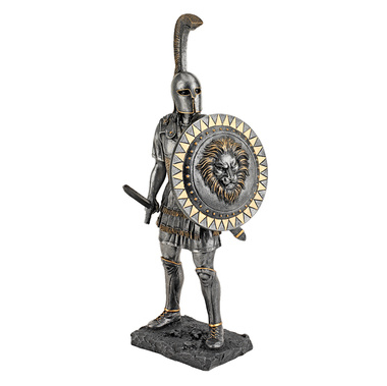 Spartan Hoplite Warrior Statue With Spear Pewter
