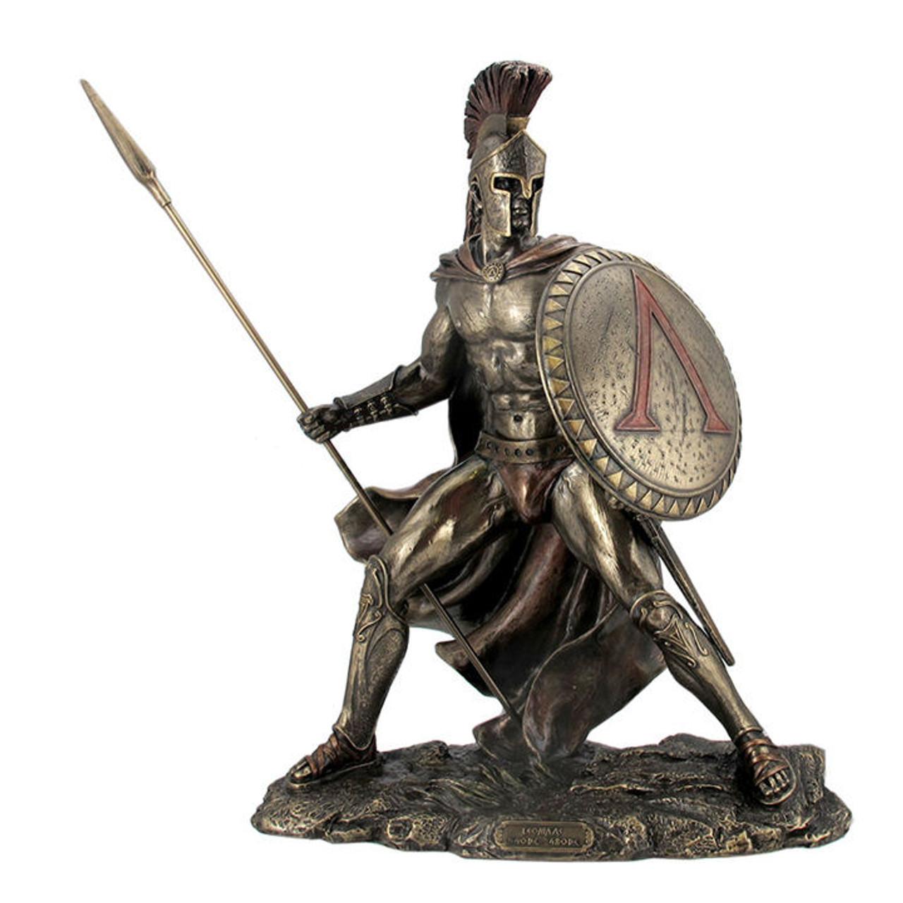 King Leonidas Spartan Warrior Statue With Spear Bronzed