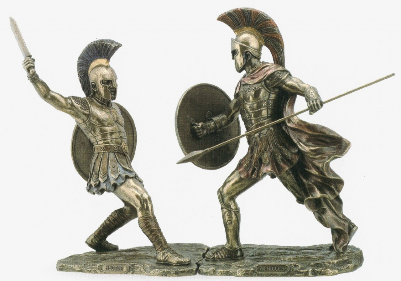 Achilles and Hector Warrior Statue Set