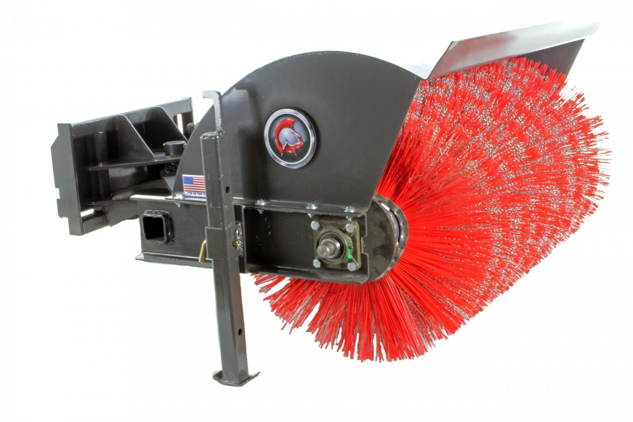 "48"" Wide Mini Skid Steer Angle Broom With Hydraulic Angle (Industrial Series)"