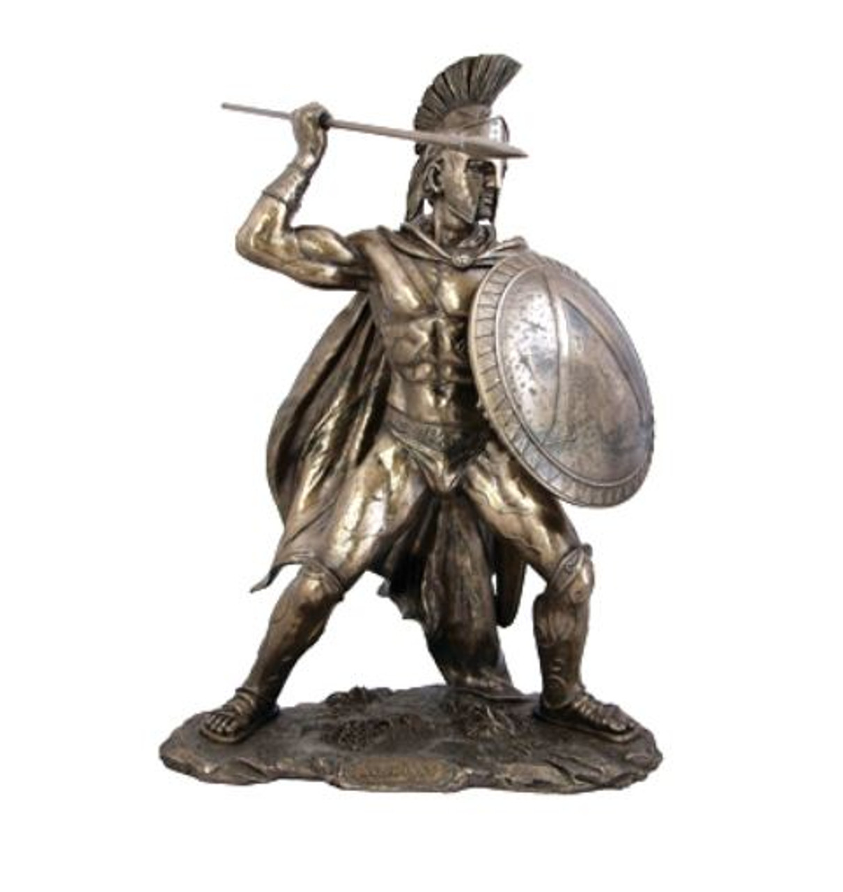 King Leonidas Spartan Warrior Statue With Spear Bronzed (Large)