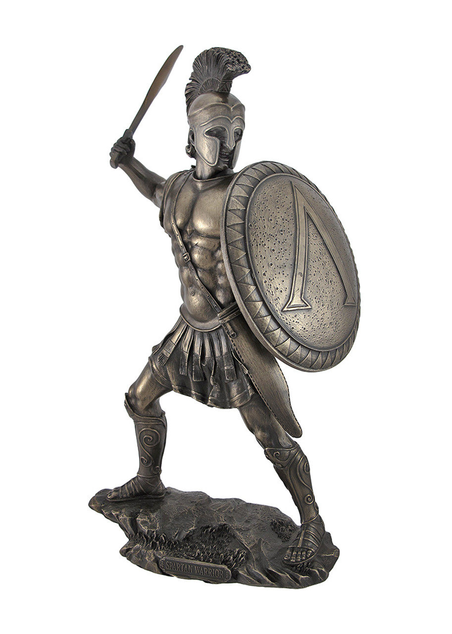 Spartan Warrior Statue With Sword Bronzed