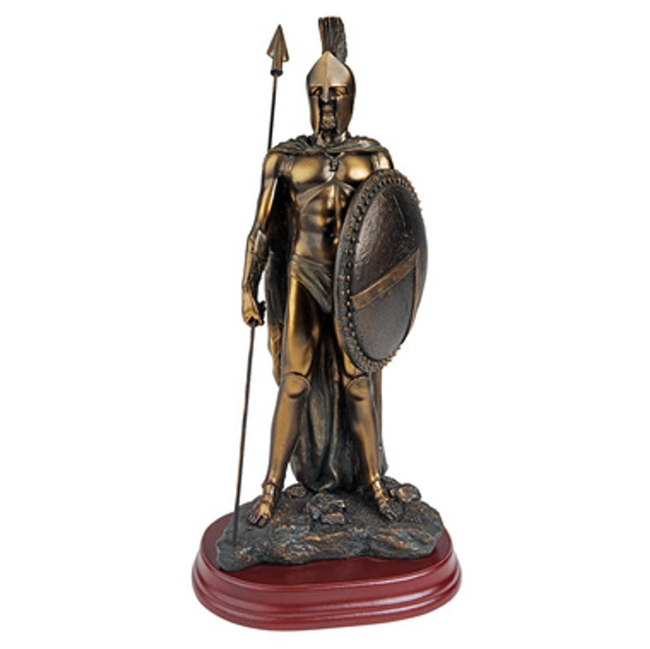 King Leonidas Spartan  Warrior Statue With Spear Bronzed (Small)