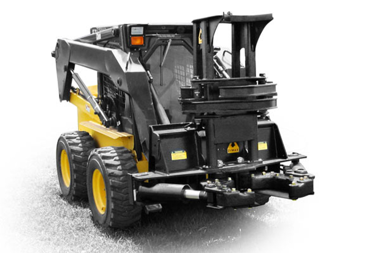 "Skid Steer Tree Shear Attachment That Cuts Up To 14"" Dia Trees  With Fixed Base and Double Arm Grapples"