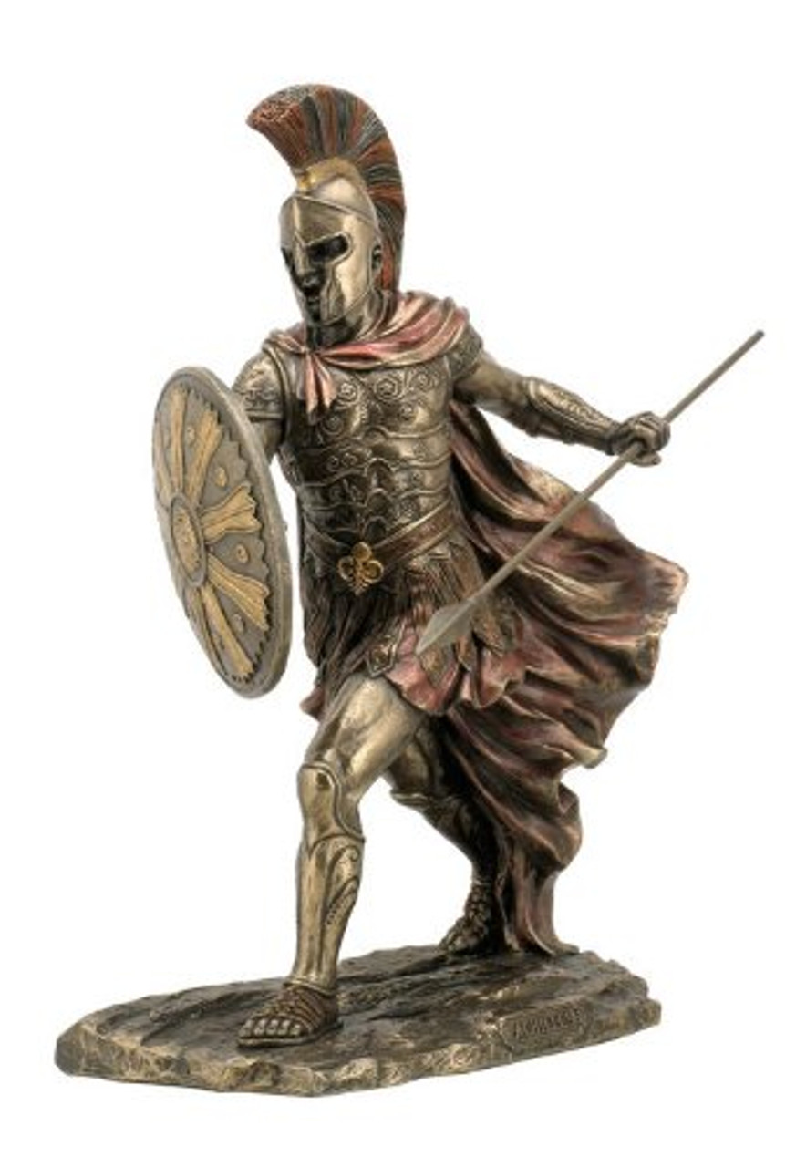 Achilles Warrior Statue With Spear and Shield Bronzed