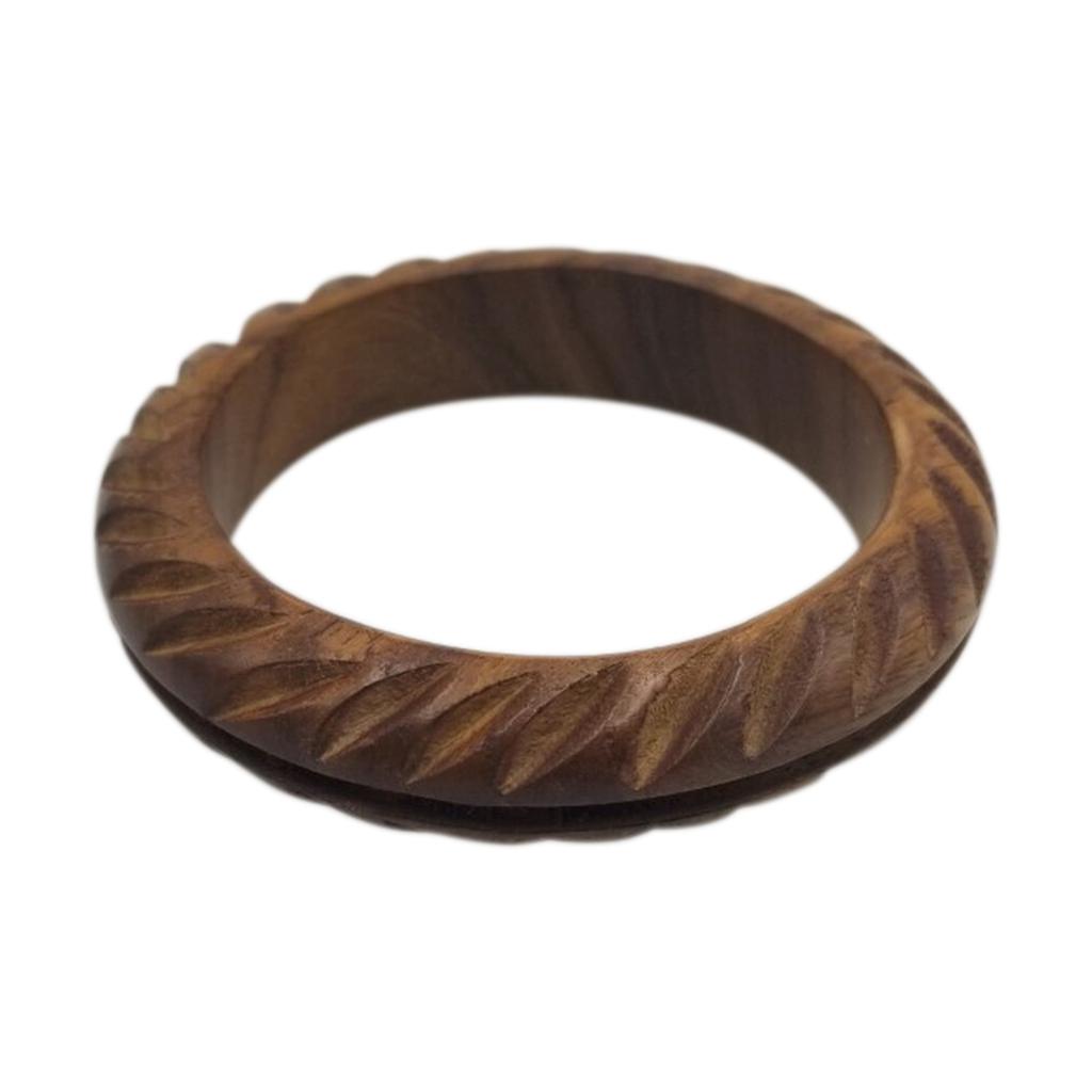 "Natural Wood Carved Bangle 3/4"""