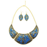Denali Crescent Bib Necklace and Earrings with Terracotta Mosaic Design