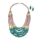 Matti Clay Beads Necklace Earring Set - Turquoise and Coral Tone Beads