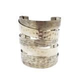 Clementine Boho Chic Brass Metal Cuff Bracelet with Hammered Accent