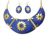 Brass Necklace Tibetan Solid Brass Bib Collar Blue Gem Stone