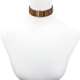 Waheeda Natural Wood Tone Hair Pipe Beads Choker