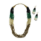 Inara Multi Strand Seed Bead Necklace & Earring Set
