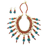 Naga Multi Color Tribal Bone Beads Bib Necklace with Matching Earrings