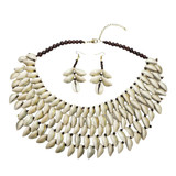 Mali Five Row Cowrie Shell Bib Necklace with Matching Earrings