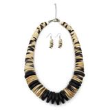 Orenda Wooden Disc Necklace and Earrings Set