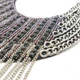 Indie Fringed Leather Bib Necklace