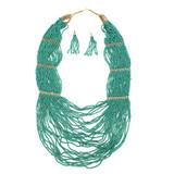 Nala Seed Bead Necklace Earrings Set - Turquoise Tone