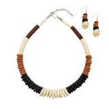 Ramva Four Tone Buffalo Bone Graduated Necklace Set