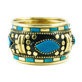 Brass Bangle Bracelet Set With Bone and Inlay Work