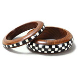 Jira Black & White Checkered Wood and Bone Inlay Bangle Set