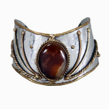 Jahzara Handmade Brass and Stainless Steel Cuff Bracelet with Agate Stone