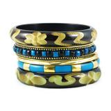 Lolita Handmade Resin and Brass Bangle Bracelet