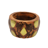 Chunky Wood Bangle with Brass Accents