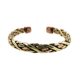 Handwoven brass and copper bracelet with magnets at end for energetic healing.