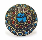 Zarah Terracotta and Mosaic Sultani Ring - Turquoise & Red